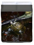 Turtle And The Stick Duvet Cover