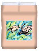 Turtle Love Pair Of Sea Turtles Duvet Cover