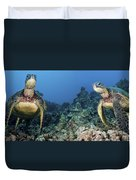Turtle Panorama Duvet Cover by Dave Fleetham - Printscapes