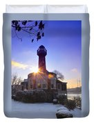 Turtle Rock Light House At Sunrise Duvet Cover