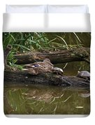 Turtles And A Duck Duvet Cover