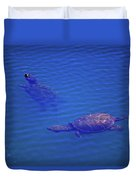 Turtles At The Lily Pond 001 Duvet Cover
