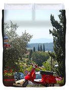 Tuscan Landscape And Scooter Duvet Cover