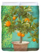 Tuscan Orange Topiary - Damask Pattern 2 Duvet Cover