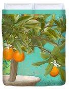 Tuscan Orange Topiary - Damask Pattern 3 Duvet Cover