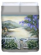 Tuscan Pond And Wisteria Duvet Cover