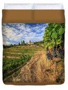 Tuscan Vineyard And Grapes Duvet Cover