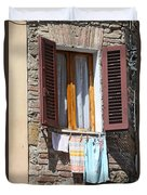 Tuscan Window And Laundry Duvet Cover
