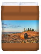 Tuscany Landscape With Farm House At Sunset, Val D'orcia, Italy Duvet Cover