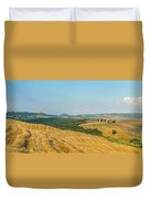 Tuscany Landscape With Rolling Hills At Sunset, Val D'orcia, Ita Duvet Cover