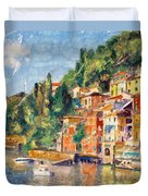 Tuscany On The Lake Duvet Cover