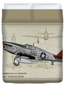 Tuskegee P-51b By Request - Profile Art Duvet Cover