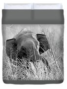 Tusker In The Grass Duvet Cover