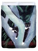 Tuxedo Cat In Mimosa Tree Duvet Cover by Karen Zuk Rosenblatt