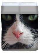 Tuxedo Cat Whiskers And Pink Nose Duvet Cover