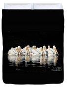 Twelve White Pelicans On A Dark Background. Duvet Cover