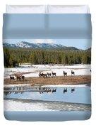 Twice The Elk Duvet Cover