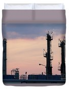 Twilight Over Petrochemical Plant Duvet Cover