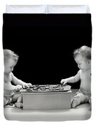 Twin Babies Playing Checkers, C.1930-40s Duvet Cover
