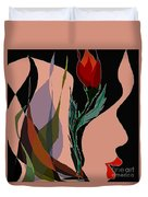 Twin Fire Flower Head 2 Duvet Cover by Navo Art