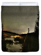 Twin Lakes Night Panorama Duvet Cover