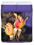 Twin Roses Of Love Duvet Cover