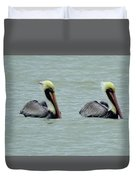 Twins Brown Pelican In Gulf Of Mexico Duvet Cover