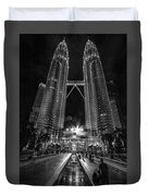Twintowers At Night Duvet Cover