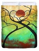 Twisting Love II Original Painting By Madart Duvet Cover by Megan Duncanson