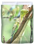 Two Adorable Budgie Parakeets Living In Nature Duvet Cover