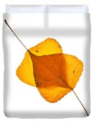 Two Backlit Cottonwood Leaves In Autumn On White Duvet Cover