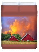 Two Barns At Sunset Duvet Cover