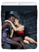 Two Beautiful Women Sitting Together Duvet Cover by Oleksiy Maksymenko