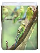 Two Beautiful Yellow Parakeets In A Tree Duvet Cover