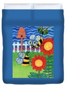 Two Bees With Red Flowers Duvet Cover by Genevieve Esson