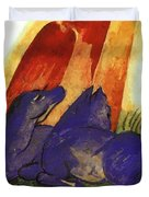 Two Blue Horses In Front Of A Red Roc 1913 Duvet Cover
