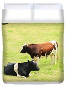 Two Bulls In A Pasture Duvet Cover