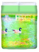 Two Canadian Geese In The Water Duvet Cover