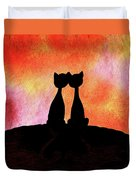 Two Cats And Sunset Silhouette Duvet Cover