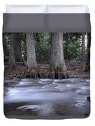 Two Ceders Next To A Mountain Stream Duvet Cover