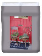 Two Chairs With Plants Duvet Cover