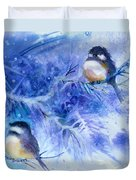 Two Chickadees In Snow Duvet Cover