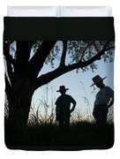 Two Children In Cowboy Hats Duvet Cover