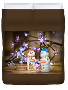 Two Chocolate Snowmen 2 Duvet Cover