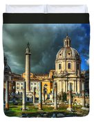 Two Churches And Columns Duvet Cover