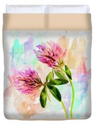 Two Clover Flowers With Pastel Shades. Duvet Cover