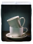 Two Coffee Cups On Saucer Duvet Cover