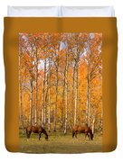 Two Colorado High Country Autumn Horses Duvet Cover