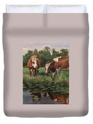 Two Cows By A Pond Duvet Cover