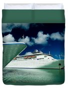 Two Cruise Ships Docked At A Caribbean Duvet Cover